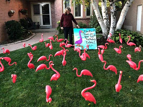 3D Lawn Sign Pink Flamingos
