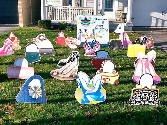 Shoes and purses lawn signs